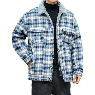 Men's Fashion Plaid Jacket Warm Winter Furry