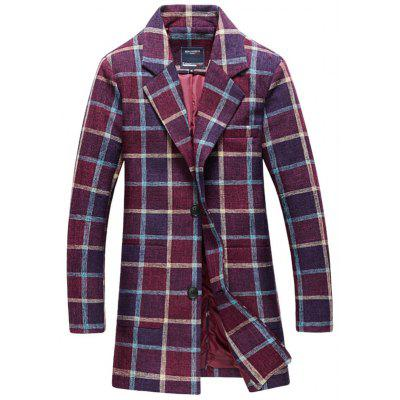 Coat Lente Herfst Plaid Printing Leisure Long Trench revers Men's