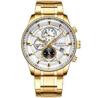 CURREN 8362 Men Round Three Eyes Dial Watch Fashion Calendar Wristwatch Water-resistant