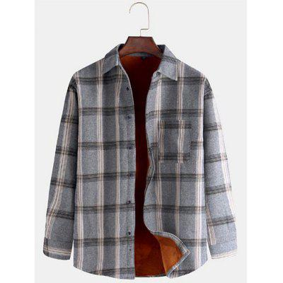 Men's Dik Winter Warm Shirt Plaid Printing Top