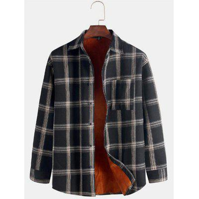 Herren Dicke Winter Warme Hemd Plaid Druck Top