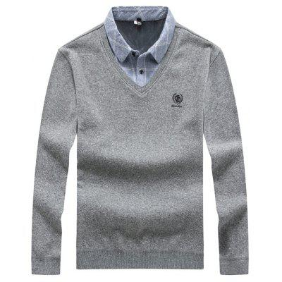 Men's False Two Piece Knitted Sweater Stand Collar Patchwork Top Large Size