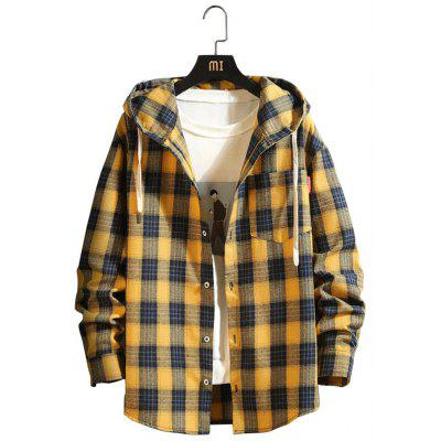 Men's Spring Large Size Hooded Shirt Casual Plaid Printing Top