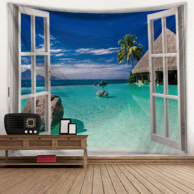 Windows + Sea View Landscape Tapestry Printed Creative Home Decoration Hanging Cloth