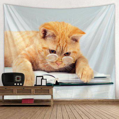 Shanghaojupin Lovely Cat with Glasses Pattern Tapestry Animal Series Printed Creative Home Decoration Hanging Cloth
