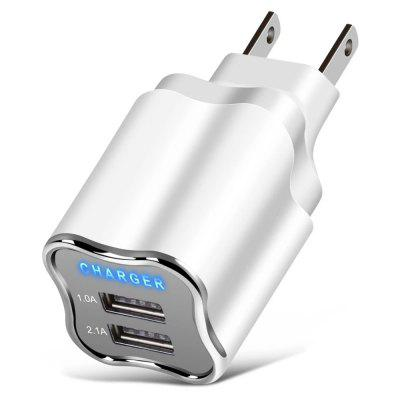 Portable Dual USB Port Plug EU-plug Charging Adapter for Android Tablets / Phones / Devices