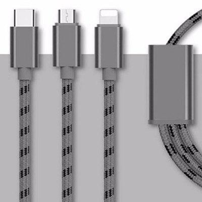 Draagbare 3-in-1 USB-kabel snel opladen 1,2 Wire voor Micro USB / 8 Pin / Type-C-apparaten