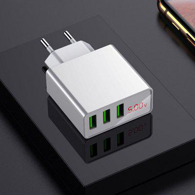 Three Ports Mini Smart USB Wall Charger Power Adapter with Digital Display