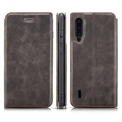 Retro Simple Ultra-thin Magnetic Leather Phone Case with Holder Card Slots Lanyard for Xiaomi Mi CC9