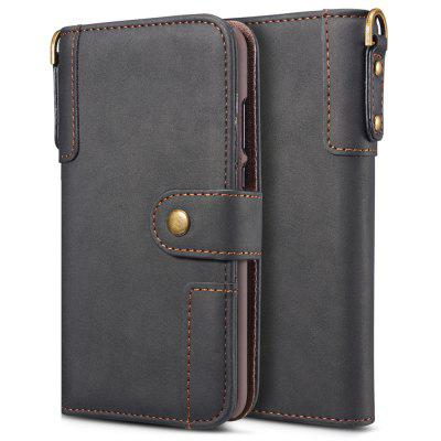 PU Leather Flip Type Phone Case Holder / Wallet Function Protective Cover with Lanyard for Huawei P20 Pro