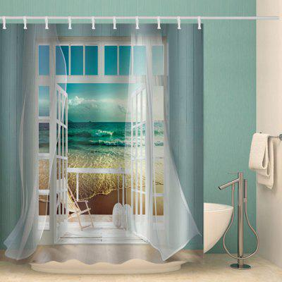 Windows Landscape Design Shower Curtain Fashion Polyester Printed Bathroom Accessories