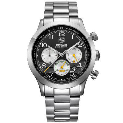 BENYAR 5107G Men's Fashion Three Eyes Quartz Watch Durable Stainless Steel Band Wristwatch