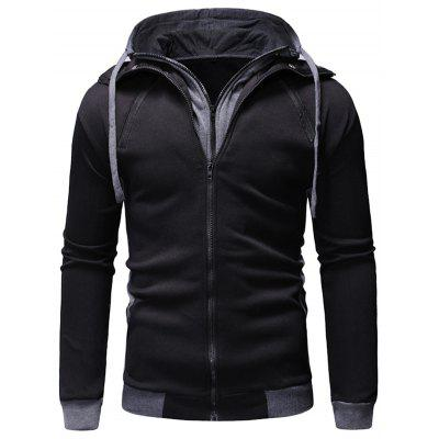 Men's Casual Zip Hooded Hoodie Stitching Loose Large Size Coat