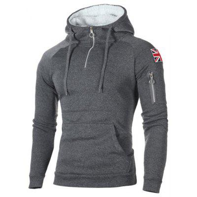 Men Zipper Printing Hoodie Slim Pullover Hooded with Large Pocket