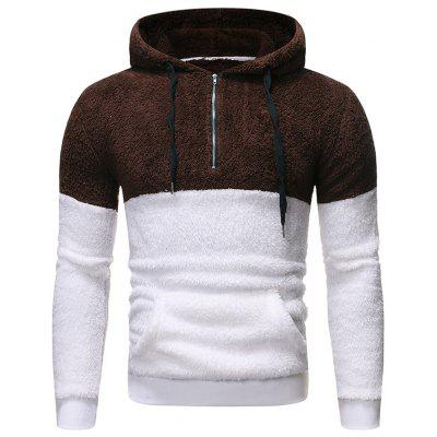 Men's Loose Furry Hoodie Contrast Color Casual Hooded Jacket