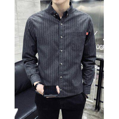 Men's Striped Long-sleeved Shirt Button-down Business T-shirt with Pocket