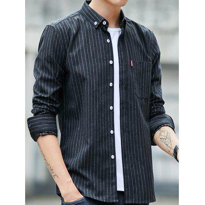 Men's Casual Long-sleeved Shirt Lapel Striped Printing T-shirt