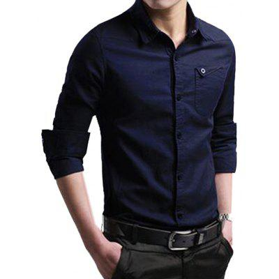 Men's Business Casual Solid Color Shirt Slim Long-sleeved T-shirt