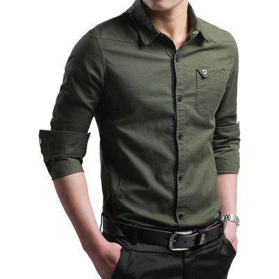 Męska Business Casual Solid Color Shirt Slim długimi rękawami T-shirt