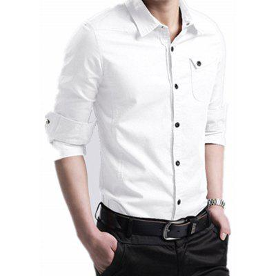 Men's Business Casual effen kleur shirt Slim met lange mouwen T-shirt