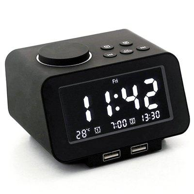 K8 Multifunction Digital Electronic Alarm Clock Radio / Temperature Display / Dual USB Ports EU Charger