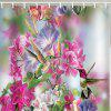 Flowers Hummingbird Printing Polyester Water-resistant Shower Curtain - PINK CUPCAKE