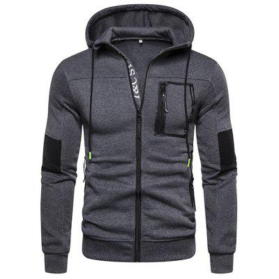 Men's Fashion Slim Hoodie Zipper Decoration Printing Pullover