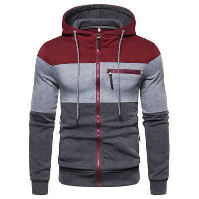 Men's Fashion Stripe Stitching Hoodie Zipper Hooded Sweater Minimalist Top
