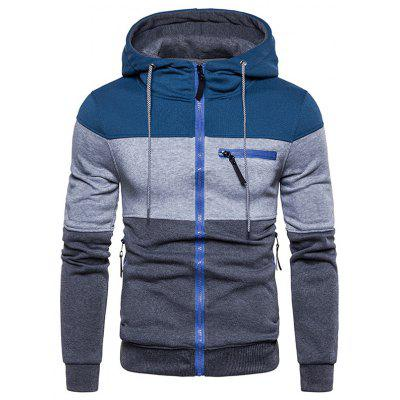 Men Fashion Stripe Cusătura Hoodie fermoar Hooded pulover Minimalist Top