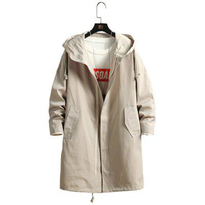 Men's Solid Color Long Trench Loose Hooded Jacket with Large Pockets