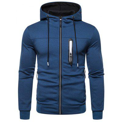 Men's Minimalist Hooded Hoodie Zipper Decorated Solid Color Jacket