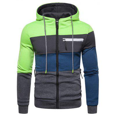 Men Stitching Simple Hoodie Long-sleeved Hooded Jacket Zipper Sweater
