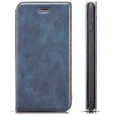 Retro Simple Ultra-thin Magnetic Leather Phone Case with Holder Lanyard for Samsung Galaxy S8