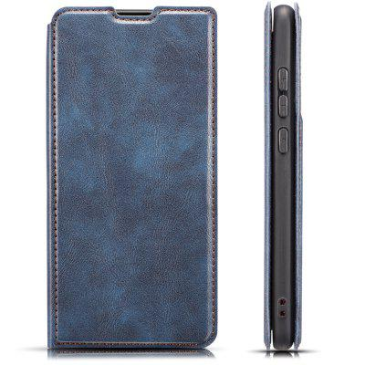 Retro Simple Ultra-thin Magnetic Leather Phone Case with Holder Lanyard for HUAWEI Honor 10 Lite