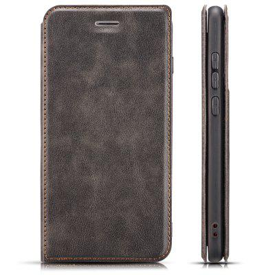 Retro Simple Ultra-thin Magnetic Leather Phone Case with Holder Lanyard for HUAWEI Y6 2019
