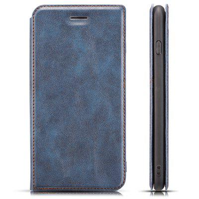 Custodia in Pelle Magnetica Ultra Sottile Retro Semplice con Supporto Cordoncino per iPhone 6 Plus