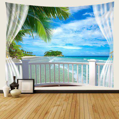 Seaside In The Windows 3D Digital Printing Tapestry Water-resistant Home Decoration
