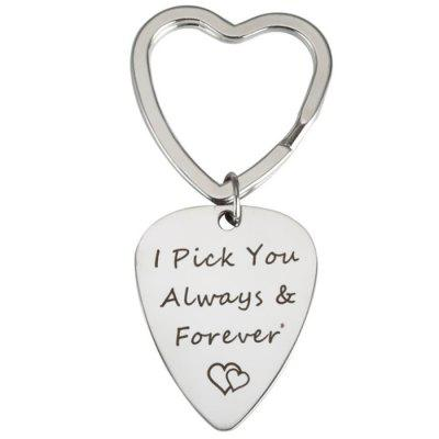 DIY Stainless Steel Guitar Pick Lettering Keychain