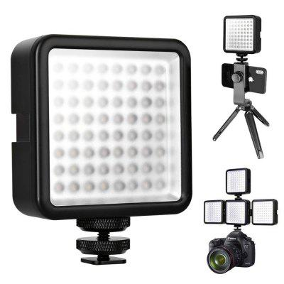 WY-64 Super Bright Mini LED Video Light 8W Dimmable 5600K High Power Panel with Cold Shoe Rack Adapter for Canon Nikon Sony DSLR Camera