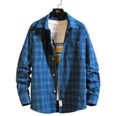 Men's Double Pocket Plaid Shirt Button-down Long Sleeved T-shirt