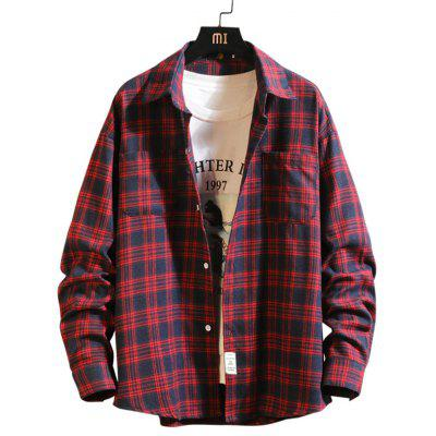Mannen met lange mouwen Plaid Shirt Revers Casual Simple Top met zakken