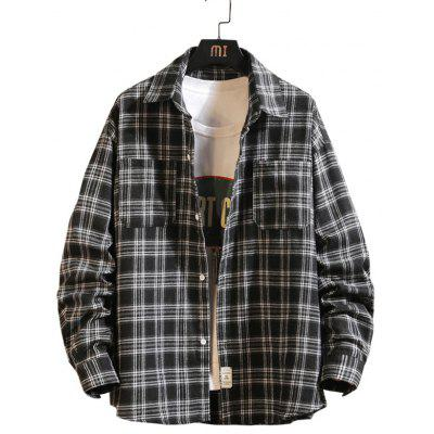 Men's Long-sleeved Plaid Shirt Lapel Casual Simple Top with Pockets