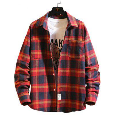 Men's Spring Plaid Shirt Casual Long-sleeved T-shirt