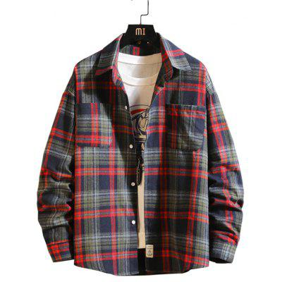 Men's Long-sleeved Plaid Shirt Casual T-shirt
