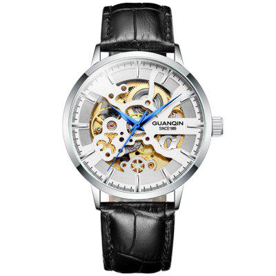 GUANQIN GJ16148 Men Automatic Mechanical Watch Water-resistant Fashion Trend Hollow Out Dial Wristwatch