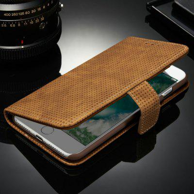 Retro Mesh Breathable Horizontal Leather Phone Case with Card Slot Holder Wallet Photo Frame for iPhone 8 Plus / iPhone 7 Plus