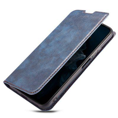 Retro Simple Ultra-thin Magnetic Leather Phone Case with Holder Lanyard for HUAWEI Nova 5 Pro