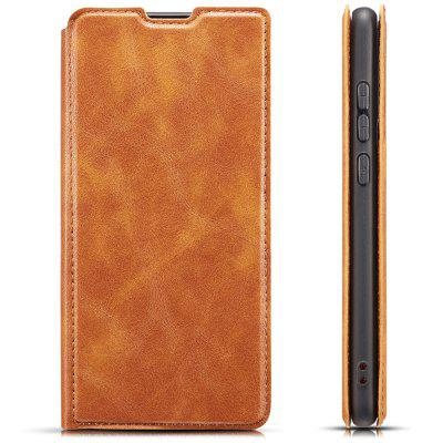 Retro Simple Ultra-thin Magnetic Leather Phone Case with Holder Lanyard for HUAWEI P20 Lite 2019