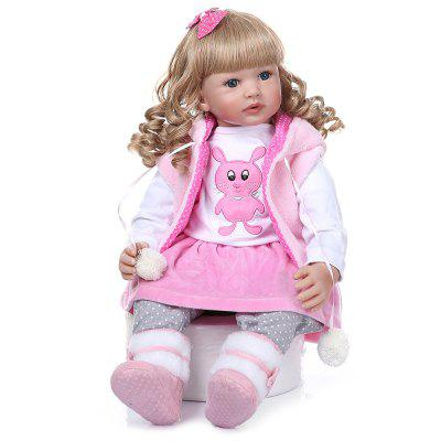 NPK Curly Hair 60CM Doll Reborn Toddler Girl Soft Silicone Realistic Baby Toy Christmas Gift