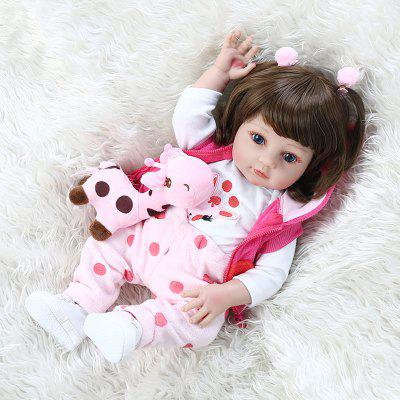 NPK 48CM Popular Full Body Soft Silicone Doll Reborn Baby Girl in Giraffe Dress